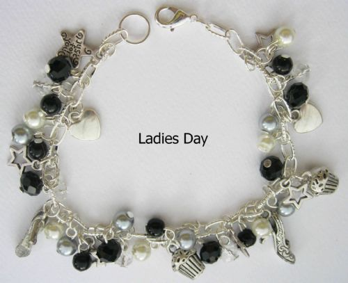 Ladies Day (Black and White) Bead and Charm Bracelet - (30 beads and 13 charms)